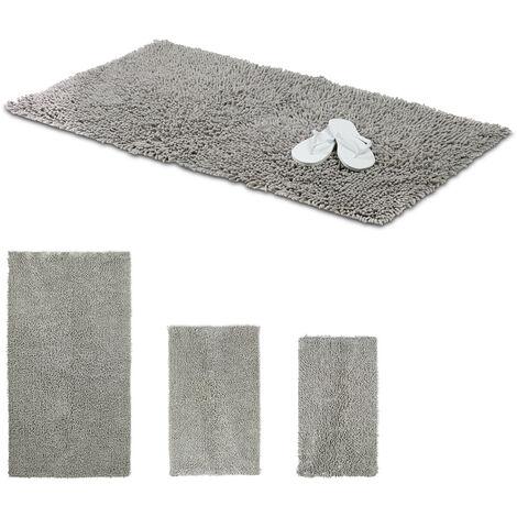 Relaxdays Shaggy Bathmat, Hand-Made Cotton Bathroom Mat, Non-Slip Bath Mat, 70 x 120 cm, Grey