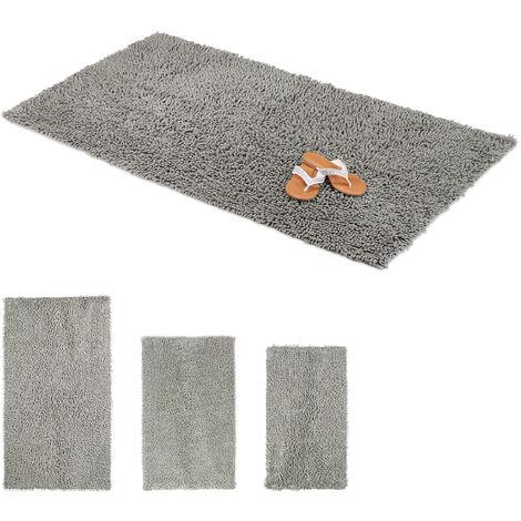 Relaxdays Shaggy Bathmat, Hand-Made Cotton Bathroom Mat, Non-Slip Bath Mat, 80 x 150 cm, Grey