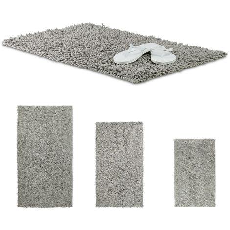 Relaxdays Shaggy Bathmat, Hand-Made Cotton Bathroom Mat, Non-Slip Bath Mat, 80 x 50 cm, Grey