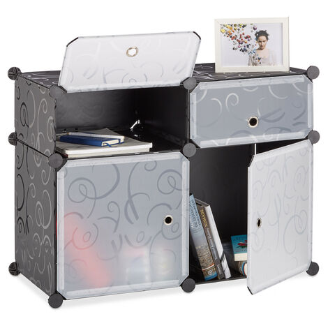 Relaxdays Shelving System 4 Compartments, Plastic Modular Shelf with Doors, Shoe Cabinet, 56 x 75 x 37 cm, Black