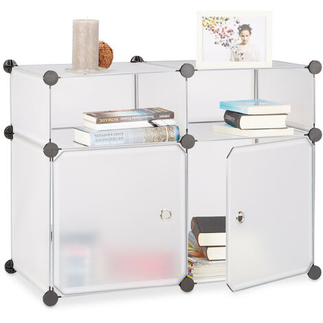 Relaxdays Shelving System 4 Compartments, Plastic Modular Shelf with Doors, Shoe Cabinet, 56 x 75 x 37 cm, Transparent