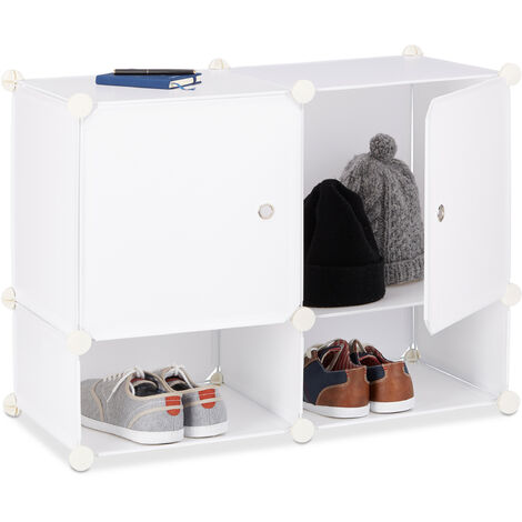 Relaxdays Shelving System 4 Compartments, Plastic Modular Shelf with Doors, Shoe Cabinet, 56 x 75 x 37 cm, White
