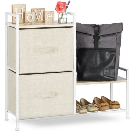 Relaxdays Shelving System, Chest of Drawers, Standing Shelf with 2 Boxes, HxWxD: 78 x 84 x 29 cm, Metal and Wood, Beige
