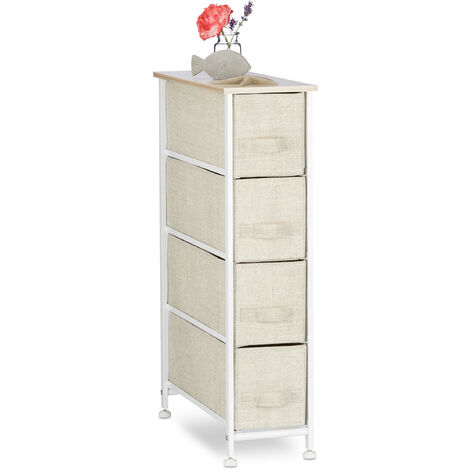 Relaxdays Shelving System, Chest of Drawers, Standing Shelf with 4 Boxes, HxWxD: 76 x 20 x 48 cm, Metal and Wood, Beige