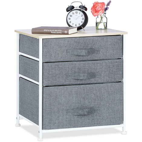 Relaxdays Shelving System, Chest of Drawers, Standing Shelf with Boxes, HxWxD: 53 x 48 x 40 cm, Metal and Wood, Grey