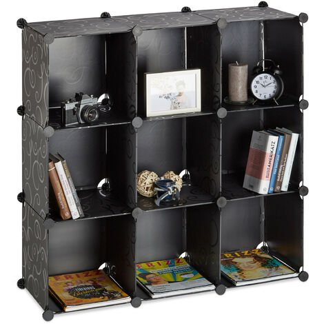 Relaxdays Shelving System, Plastic Room Divider, Standing Shelf with 9 Compartments, 95 x 95 x 32 cm, Black