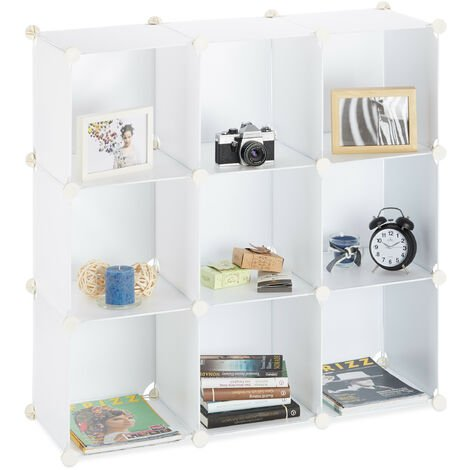 Relaxdays Shelving System, Plastic Room Divider, Standing Shelf with 9 Compartments, 95 x 95 x 32 cm, White