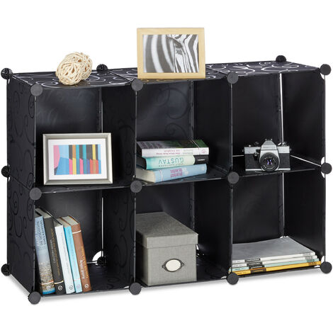 Relaxdays Shelving System with 6 Compartments, Open Standing Shelf, Modular Plastic Wardrobe, H x W x D: 65 x 96 x 32 cm, Black