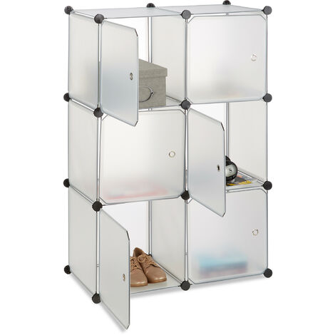 Relaxdays Shelving System with 6 Doors, DIY, Cubes, Handles, Partition, Plastic, HWD: 105x70x35 cm, Transparent