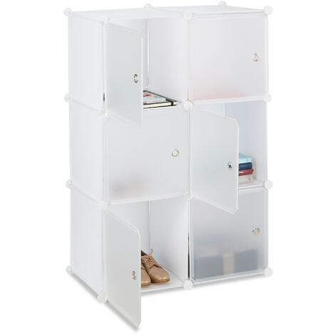 Relaxdays Shelving System with 6 Doors, DIY, Cubes, Handles, Partition, Plastic, HWD: 105x70x35 cm, White