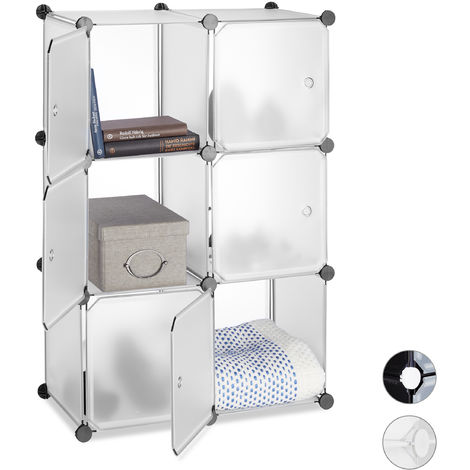 Relaxdays Shelving System with 6 Doors, DIY, Cubes, Handles, Partition, Plastic, HWD: 97.5x66x32 cm, Transparent