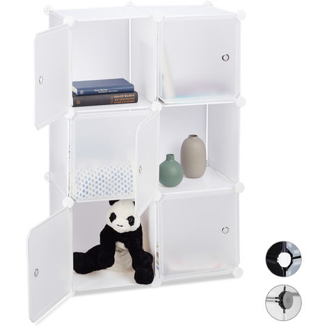 Relaxdays Shelving System with 6 Doors, DIY, Cubes, Handles, Partition, Plastic, HWD: 97.5x66x32 cm, White