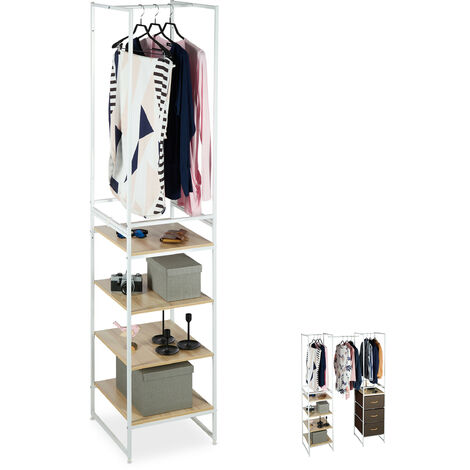 Relaxdays Shelving System with Clothes Rail, 3 Compartments, Extendible Module, Steel, 198 x 43 x 46.5 cm, White