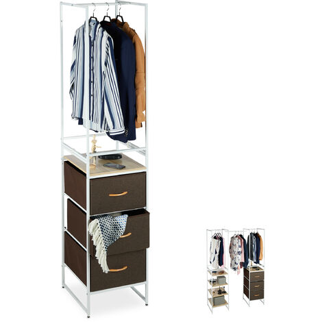 Relaxdays Shelving System with Clothes Rail, Extendible Module, Steel, 198 x 43 x 46.5 cm, White/Brown
