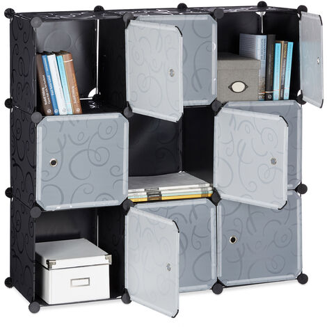 Relaxdays Shelving System with Doors, Plastic Divider, Standing Shelf with 9 Compartments, 95 x 95 x 35 cm, Black