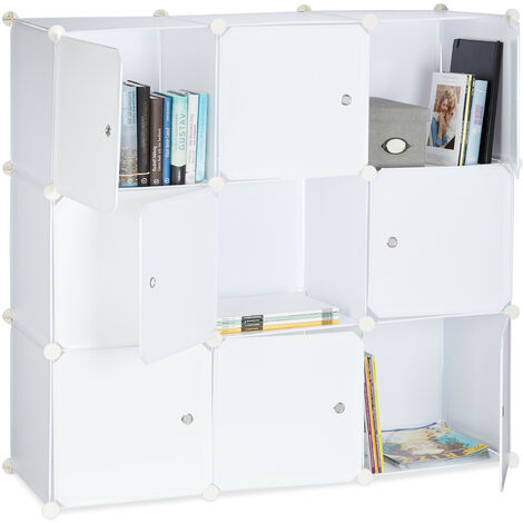 Relaxdays Shelving System with Doors, Plastic Divider, Standing Shelf with 9 Compartments, 95 x 95 x 35 cm, White
