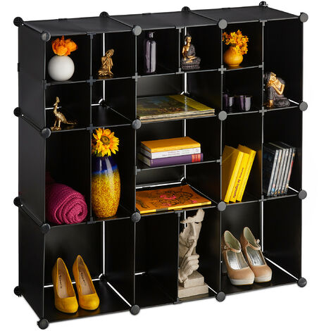 Relaxdays Shelving Unit, 20 Compartments, Large, Open DIY Modular Rack, Divider, HxWxD 111 x 111 x 37 cm, Black