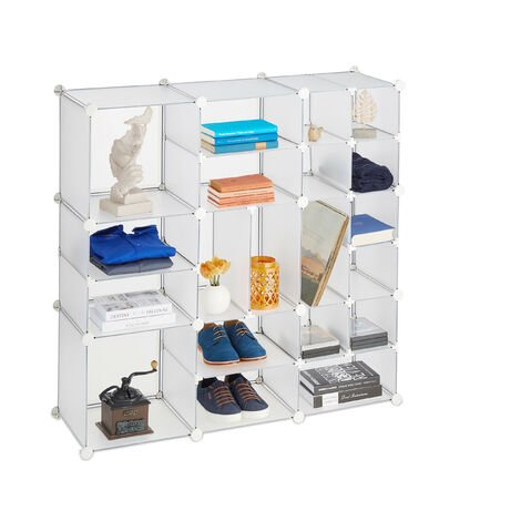Relaxdays Shelving Unit, 20 Compartments, Large, Open DIY Modular Rack, Divider, HxWxD 111 x 111 x 37 cm, Clear