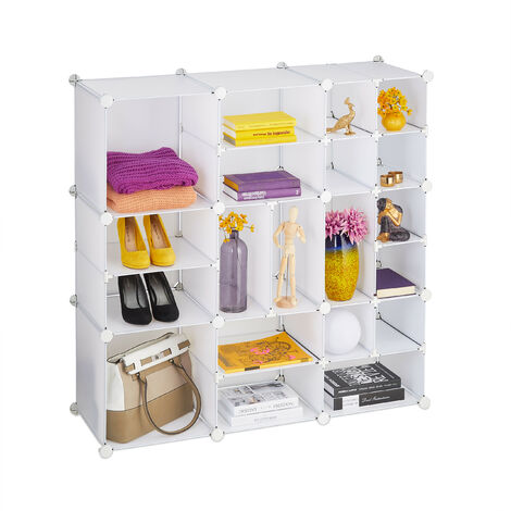 Relaxdays Shelving Unit, 20 Compartments, Large, Open DIY Modular Rack, Divider, HxWxD 111 x 111 x 37 cm, White