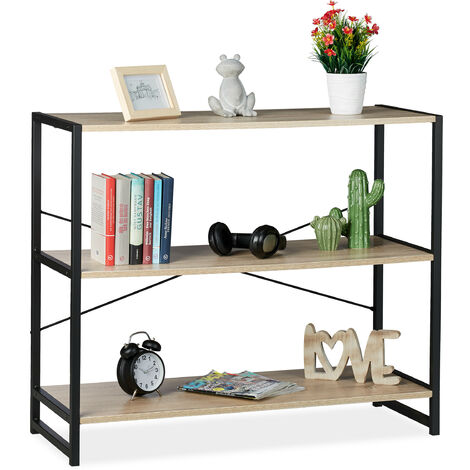Relaxdays Shelving Unit, Industrial Storage Design, Bookcase With 3 Shelves,HWD: 80x95x35 cm, PB/Metal, Brown/Black