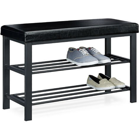 Relaxdays Shoe Bench, 49 x 81 x 32 cm Open Shoe Shelves, Padded Seat w/ Faux Leather Cover, for 6-8 Pairs, Backless, Black