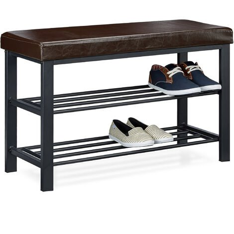 Relaxdays Shoe Bench, 49 x 81 x 32 cm Open Shoe Shelves, Padded Seat w/ Faux Leather Cover, for 6-8 Pairs, Backless, Brown