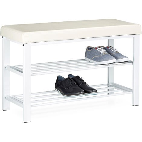Relaxdays Shoe Bench, 49 x 81 x 32 cm Open Shoe Shelves, Padded Seat w/ Faux Leather Cover, for 6-8 Pairs, Backless, White