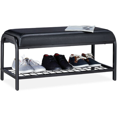Relaxdays Shoe Bench, Padded, Storage Rack with Padded Seat, Metal Hallway Stand, HWD 40x85x40 cm, Black