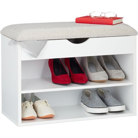 Relaxdays Shoe Bench, Upholstered Cushion, Foldable Seat, Modern Storage Solution, 3 Compartments, 45 x 62 x 30 cm White