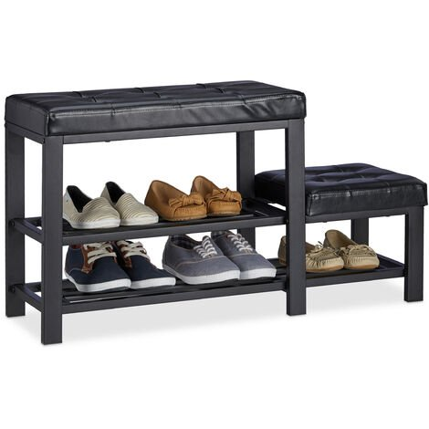 Relaxdays Shoe Bench with Footstool, Comfortable Seat Padding, 2 Tiers, Shoe Rack for Kids, HWD: 50 x 90 x 30 cm, Black