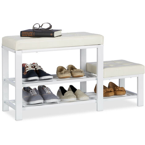 Relaxdays Shoe Bench with Footstool, Comfortable Seat Padding, 2 Tiers, Shoe Rack for Kids, HWD: 50 x 90 x 30 cm, White