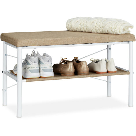 Relaxdays Shoe Bench with Padded Seat, Hallway Shoe Rack, Design, HWD 42x72x32 cm, White/Beige