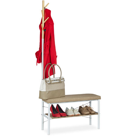 Relaxdays Shoe Bench with Padded Seat, Hallway Shoe Rack, With Coat Rack Design, HWD 42x72x32 cm, White/Beige