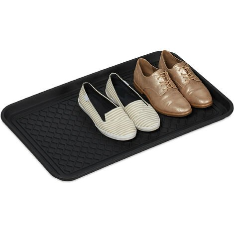 Relaxdays Shoe Drip Tray Large, Ridged Moulding, For Entryway, Car & Garden Shed, Mud Boots Mat, HWD 3x60x40 cm, Black