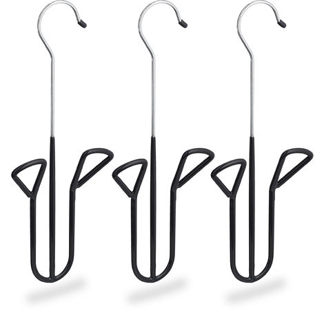 Relaxdays Shoe Hook, Set of 3, Holder with Non-Slip Rubber Coating, Different Types, H x W x D 33.5 x 14 x 4 cm Black
