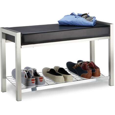 Relaxdays Shoe Rack Metal, Upholstered Seat Shoe Bench, Shoe Storage Drawers H x W x D: 47 x 80 x 31 cm, black