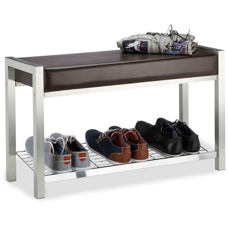 Relaxdays Shoe Rack Metal, Upholstered Seat Shoe Bench, Shoe Storage Drawers H x W x D: 47 x 80 x 31 cm, brownle