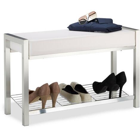 Relaxdays Shoe Rack Metal, Upholstered Seat Shoe Bench, Shoe Storage Drawers H x W x D: 47 x 80 x 31 cm, white