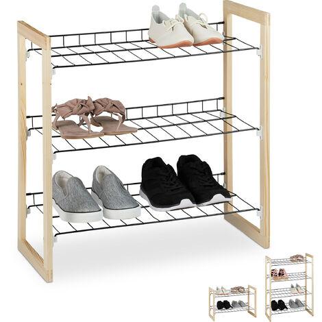 Relaxdays Shoe Rack, Open Hallway Storage Stand, Iron & Pine Wood, 3-Tiers, HWD 59x57.5x29cm, Natural/Black