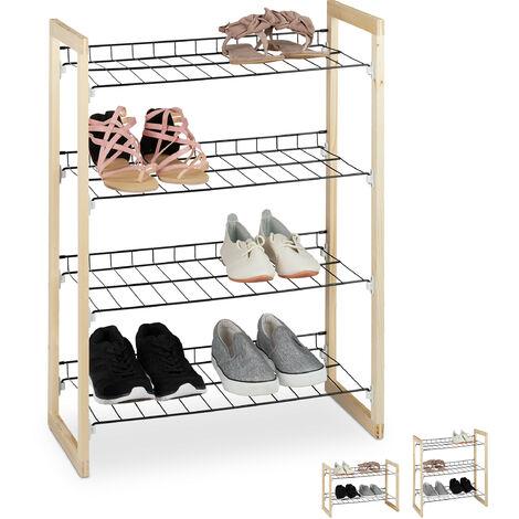 Relaxdays Shoe Rack, Open Hallway Storage Stand, Iron & Pine Wood, 4-Tiers, HWD 79x57.5x29cm, Natural/Black