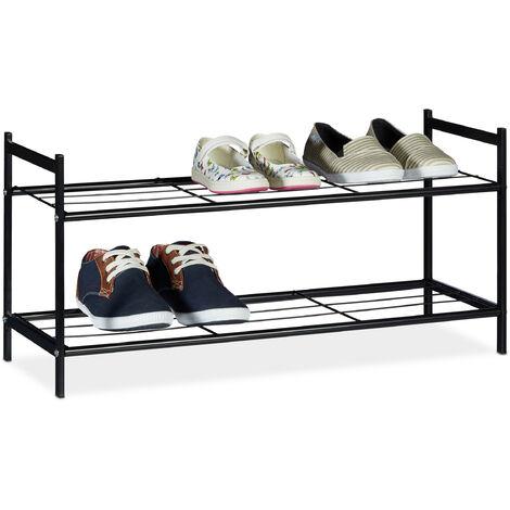 Relaxdays Shoe Rack SANDRA 2 Shelves, Metal Storage Unit, 33.5 x 69.5 x 26 cm, 6 Pairs of Shoes, Black