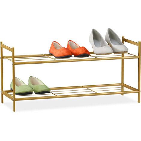 "main image of ""Relaxdays Shoe Rack SANDRA 2 Shelves, Metal Storage Unit, 33.5 x 69.5 x 26 cm, 6 Pairs of Shoes, Gold"""