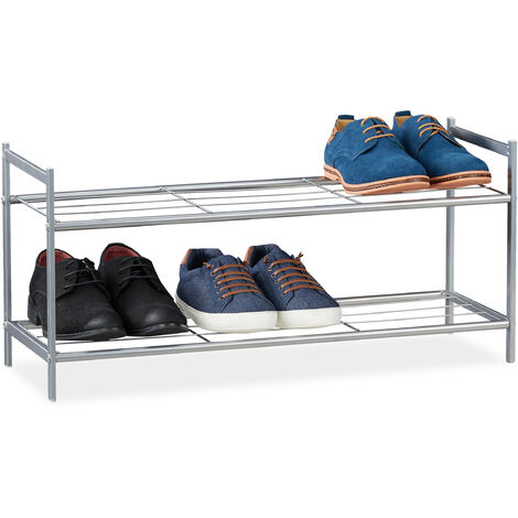 """main image of """"Relaxdays Shoe Rack SANDRA 2 Shelves, Metal Storage Unit, 33.5 x 69.5 x 26 cm, 6 Pairs of Shoes, Silver"""""""