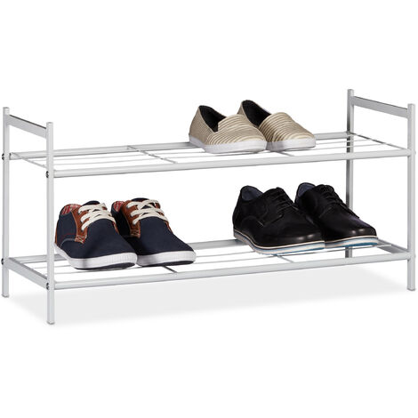 Relaxdays Shoe Rack SANDRA 2 Shelves, Metal Storage Unit, 33.5 x 69.5 x 26 cm, 6 Pairs of Shoes, White