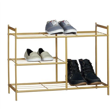 Relaxdays Shoe Rack SANDRA with 3 Shelves, Metal Shoe Storage with Boot Shelf, Size: 50.5 x 70 x 26 cm, for 8 Pairs of Shoes, with Handles, Light Brown