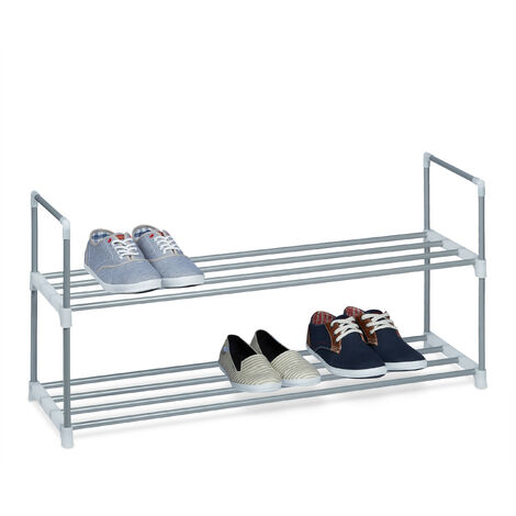 Relaxdays Shoe Rack, Size: 45 x 90 x 30 cm Shoe Storage made of Powder-Coated Metal with 2 Levels, 2 Shelves as Shoe Holder and Free-Standing Shoe Stand for the Hallway for 8 Pairs of Shoes, Silver