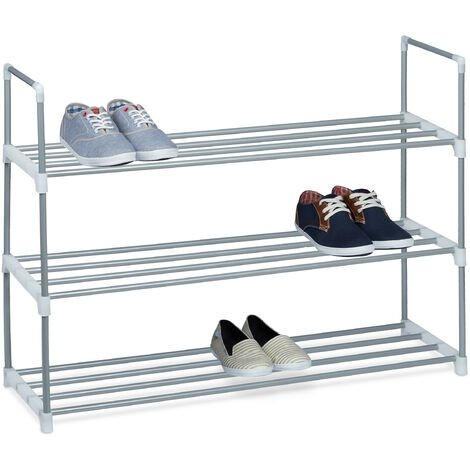 Relaxdays Shoe Rack, Size: 70 x 90 x 30 cm Shoe Storage made of Powder-Coated Metal with 3 Levels, 3 Shelves as Shoe Holder and Free-Standing Shoe Stand for the Hallway for 12 Pairs of Shoes, Silver