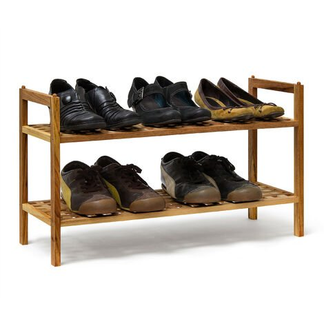 Relaxdays Shoe Rack Walnut Stackable: 40.5 x 69 x 26 cm Shoe Shelf Two-Tier For Approx. 6 Pairs Of Shoes, Wooden Shoe Storage Made Of Walnut Wood, Natural Brown