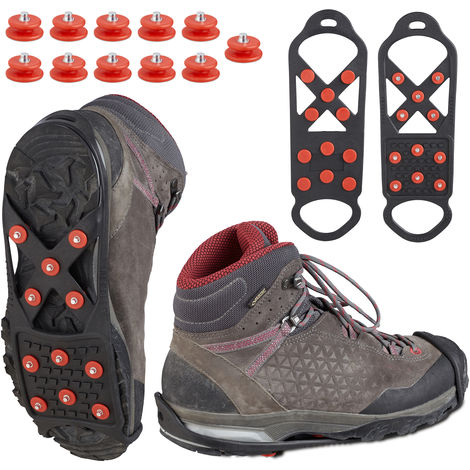 Relaxdays Shoe Spikes, Ice Cleats For Secure Footing, Men & Women Snow Grip Soles, Microspikes, For Sizes 36 - 40, Black
