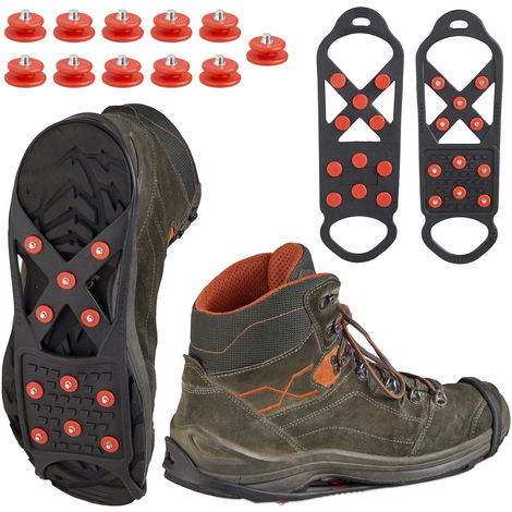 Relaxdays Shoe Spikes, Ice Cleats For Secure Footing, Men & Women Snow Grip Soles, Microspikes, For Sizes 41 - 45, Black